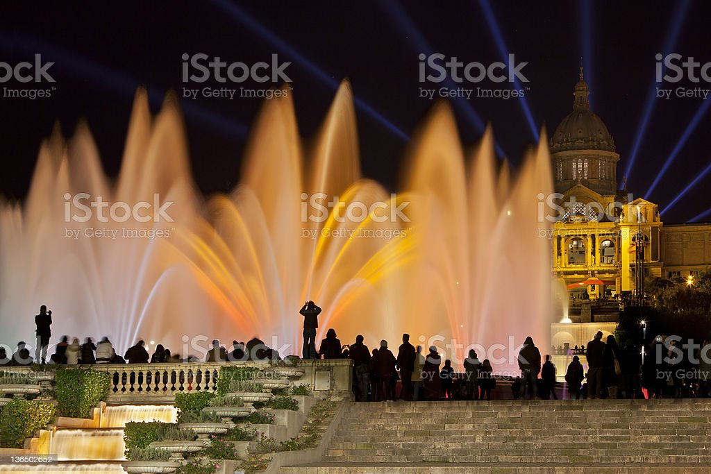 Font Màgica or Magic fountain show, Barcelona stock photo
