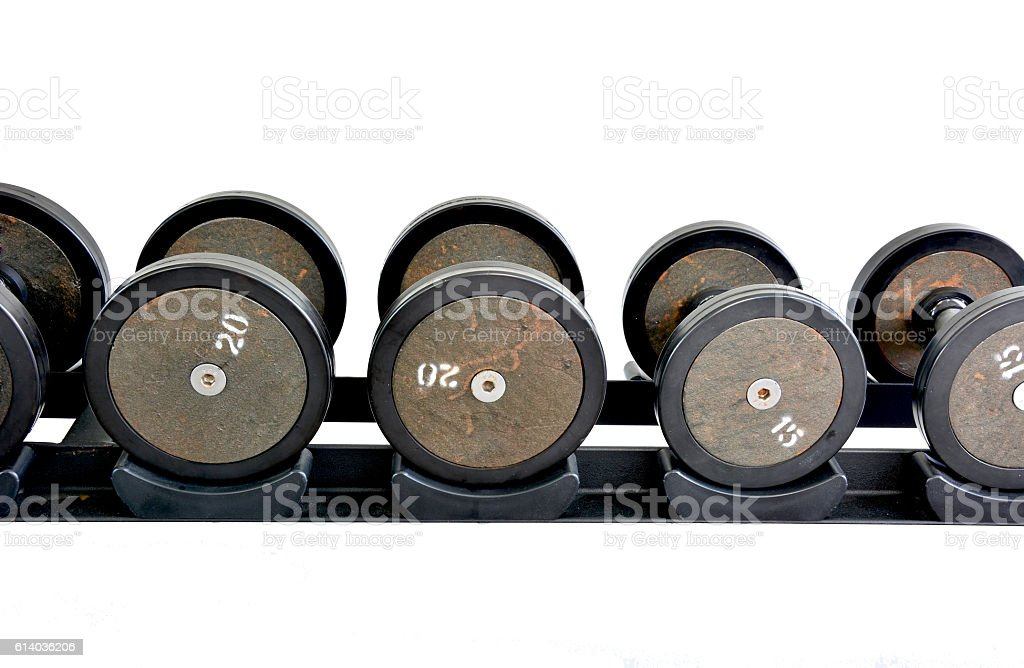 font of dumbbells with white background royalty-free stock photo
