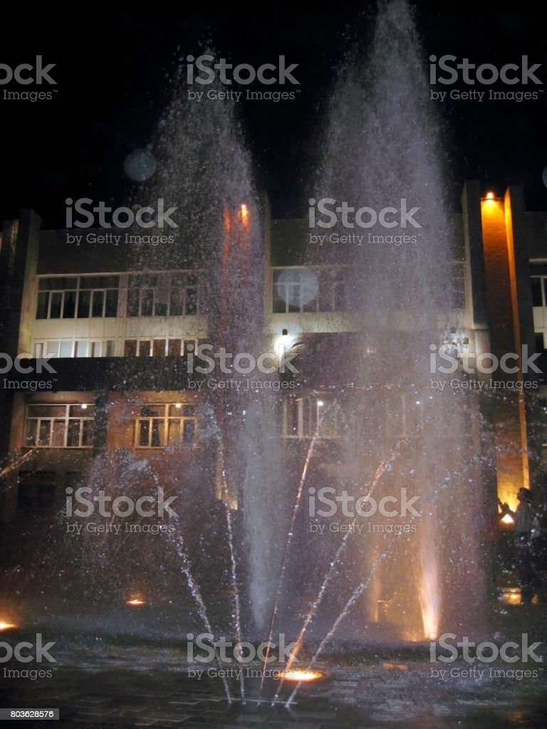 Fontain in center of Pyatigorsk in the evening stock photo