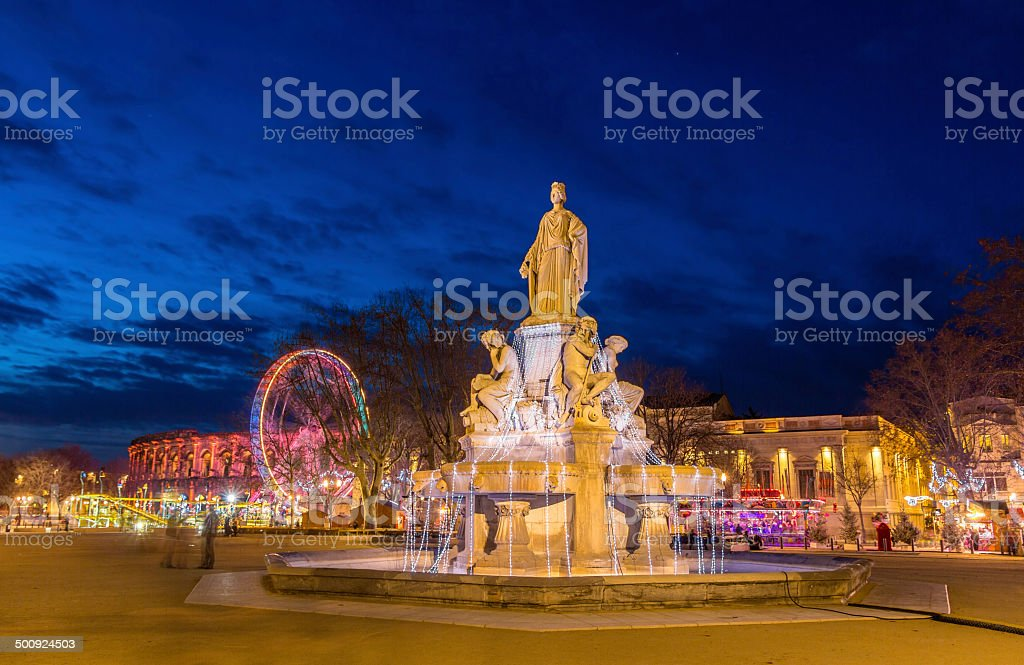 Fontaine Pradier in Nimes - France, Languedoc-Roussillon stock photo