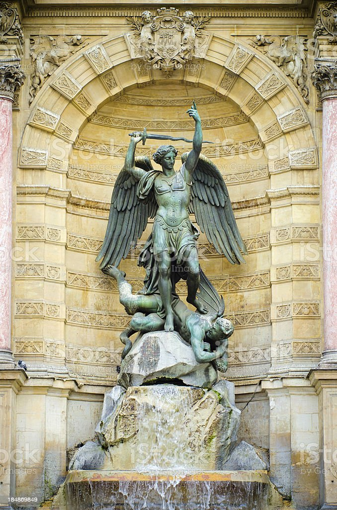 Fontaine Saint-Michel in Paris, France stock photo