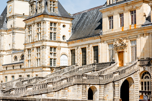 Fontainebleau with famous staircase in France