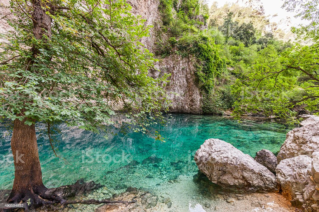 Fontaine-de-Vaucluse (France). Source of the River Sorgue celebrated by Petrarch stock photo