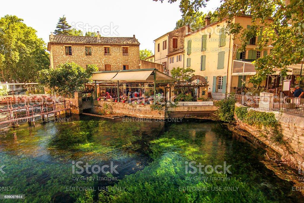 Fontaine-de-Vaucluse Village & Restaurant stock photo