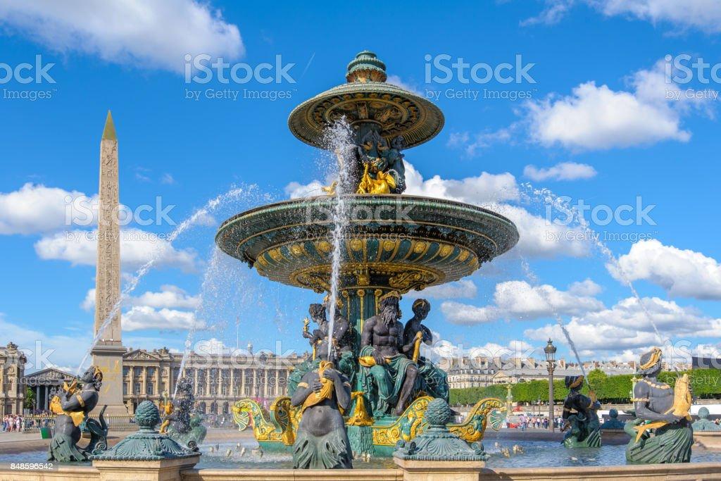 Fontaines de la Concorde and Luxor Obelisk stock photo