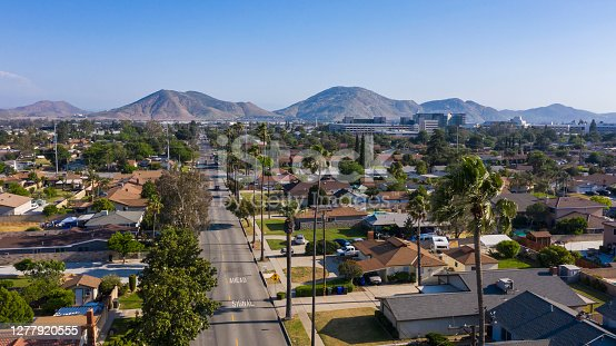 Daytime aerial view of the city center of Fontana, California.