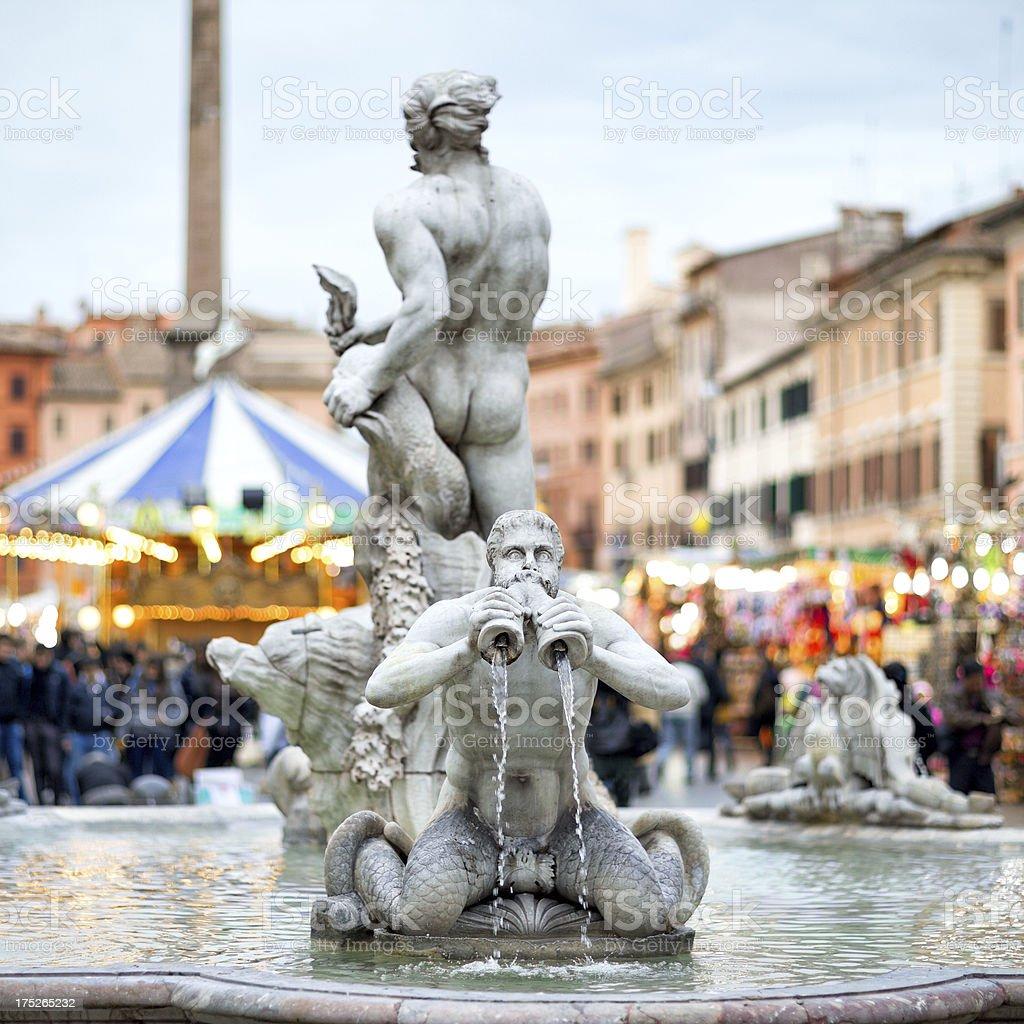 Fontana del Moro at Piazza Navona Christmas time, Rome Italy stock photo
