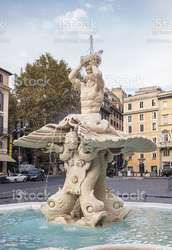 Fontana del Tritone -Triton Fountain, Rome Italy royalty-free stock photo