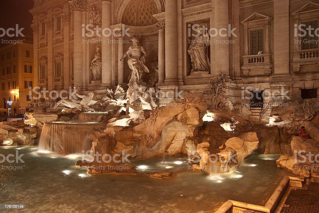 fontana di trevi at night royalty-free stock photo