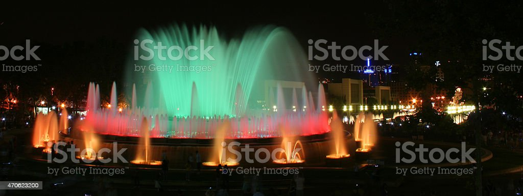 Fontana Magica in blue and violet stock photo