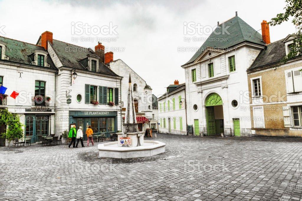 Fontevraud village square, Loire Valley, France stock photo