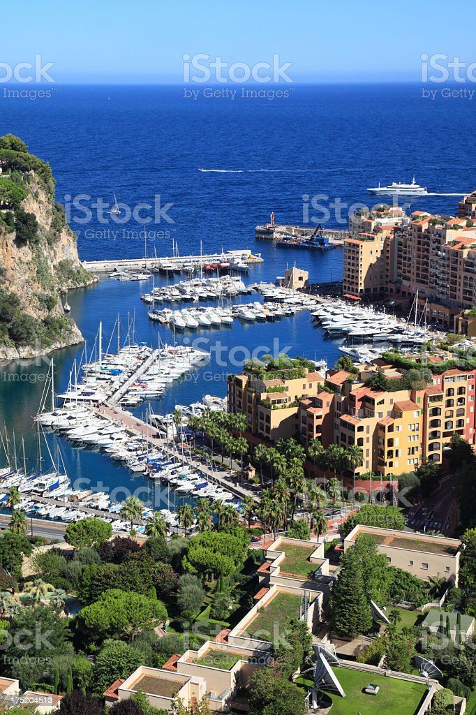 Fontvieille distric and harbor royalty-free stock photo