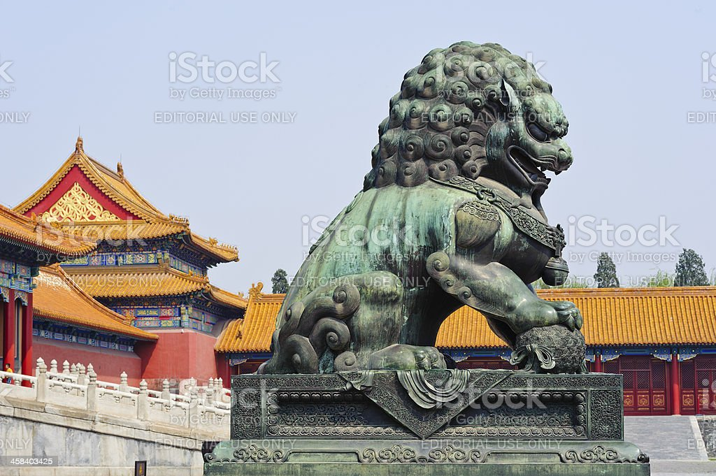 0f1a273c18509 Foo dog or Chinese guardian lion, Forbidden City, Beijing, China - Stock  image .