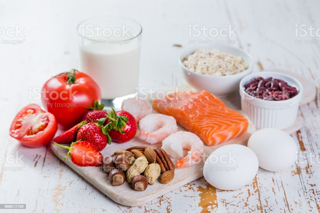 Food allergies - food concept with major allergens stock photo
