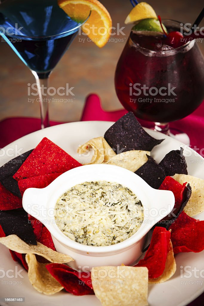 Food and Drink: Appetizer Spinach Artichoke Dip Cocktails stock photo