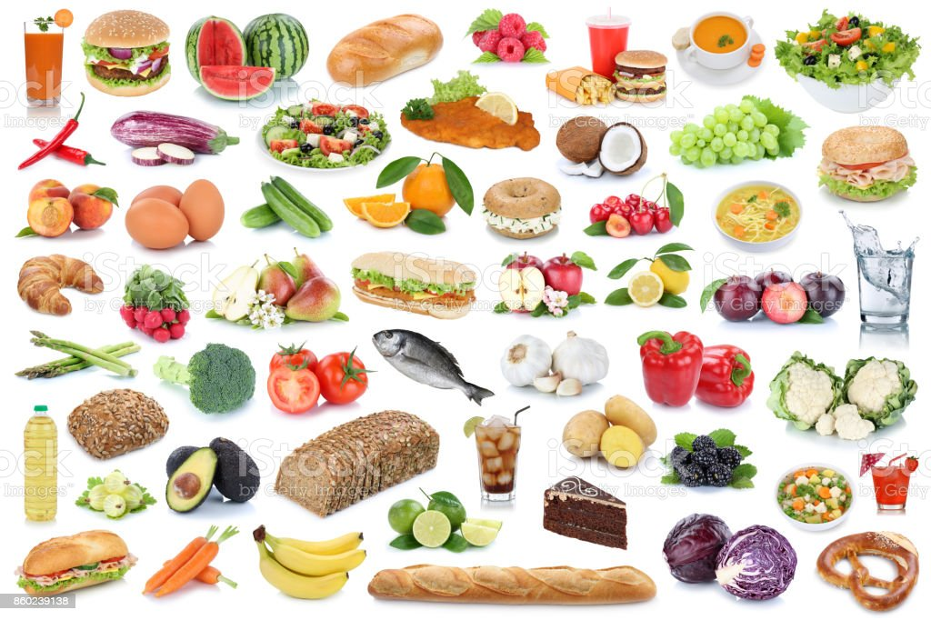 Food and drink collection background healthy eating fruits vegetables fruit stock photo