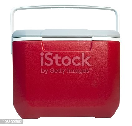 Front and top view of closed of red and white plastic food and drink cooler. Isolated.