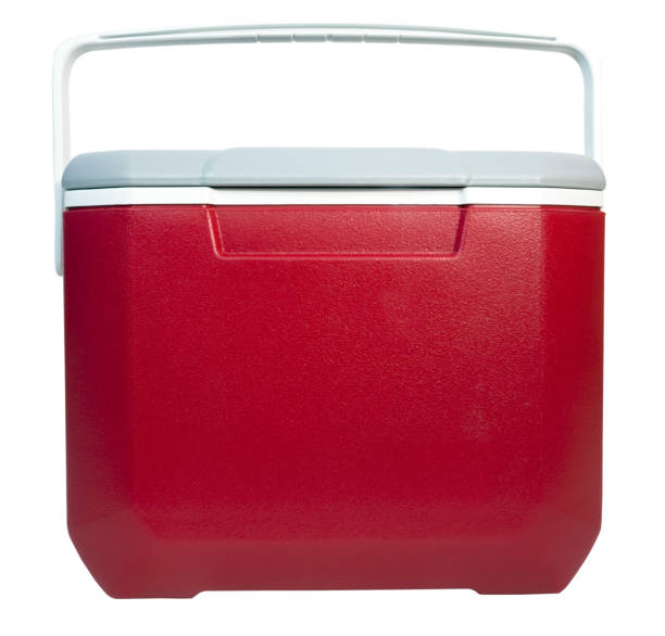 Food and Drink Cooler Front and top view of closed of red and white plastic food and drink cooler. Isolated. cooler container stock pictures, royalty-free photos & images