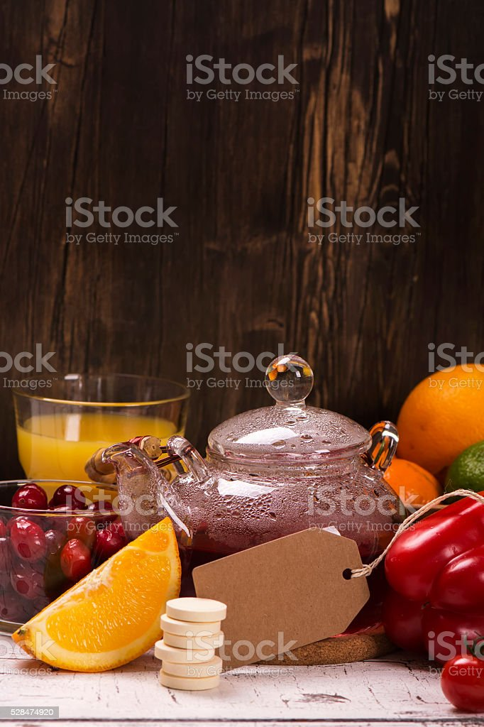 Food and drinks rich of natural vitamin C. Selective focus
