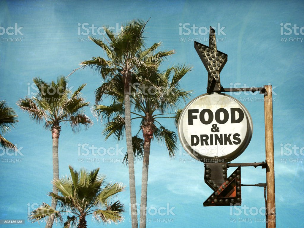 food and drinks sign stock photo