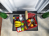 istock Food and eats online buying and delivery concept. Shopping basket with grocery in front of door. Top view. 3d illustration 1263424586