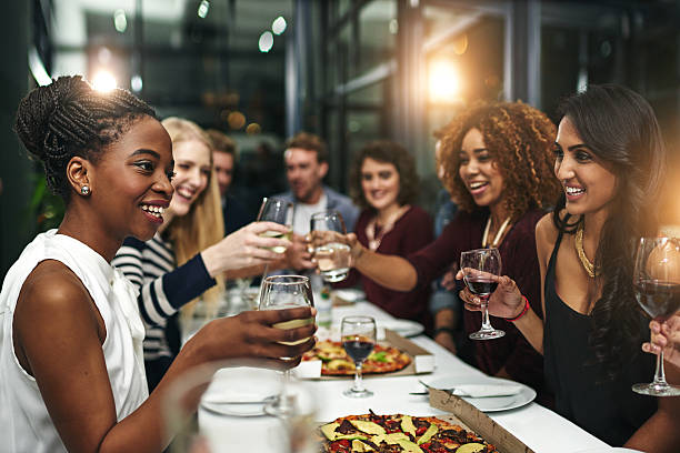 Food and friendship is always winning combination - foto stock