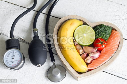 istock Food and healthy heart diet concept with blood preasure guage on white planks 898305412
