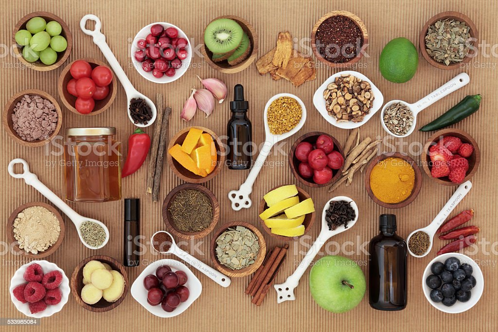 Food and Medicine for Cold Remedy stock photo
