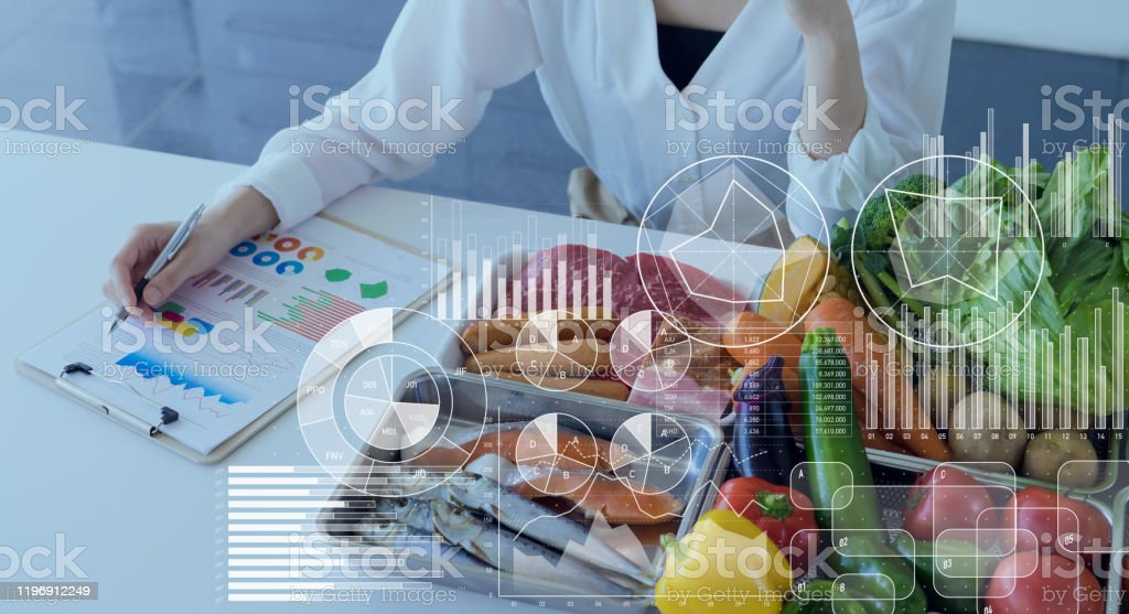 Food and science concept. Dietitian. Nutrition. - Royalty-free Adult Stock Photo