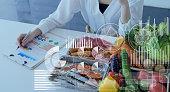 食品と科学の概念。栄養士。栄養。