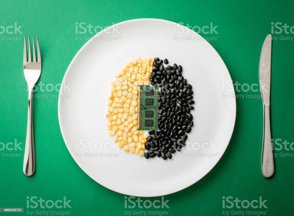 Alimento e tecnologia royalty-free stock photo