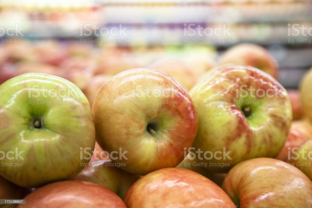 Food: Apples stacked on store display royalty-free stock photo