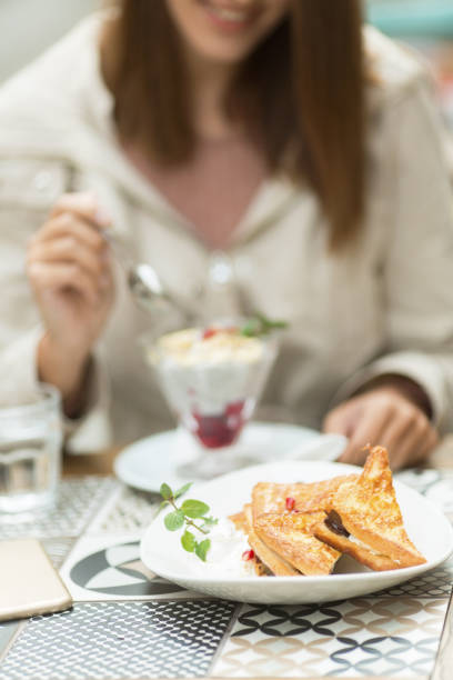 Food arranged in cafe outdoors stock photo