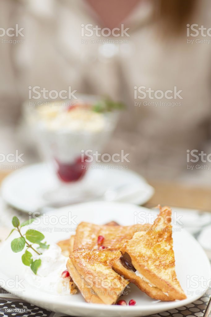Food arranged on a table in a cafe stock photo
