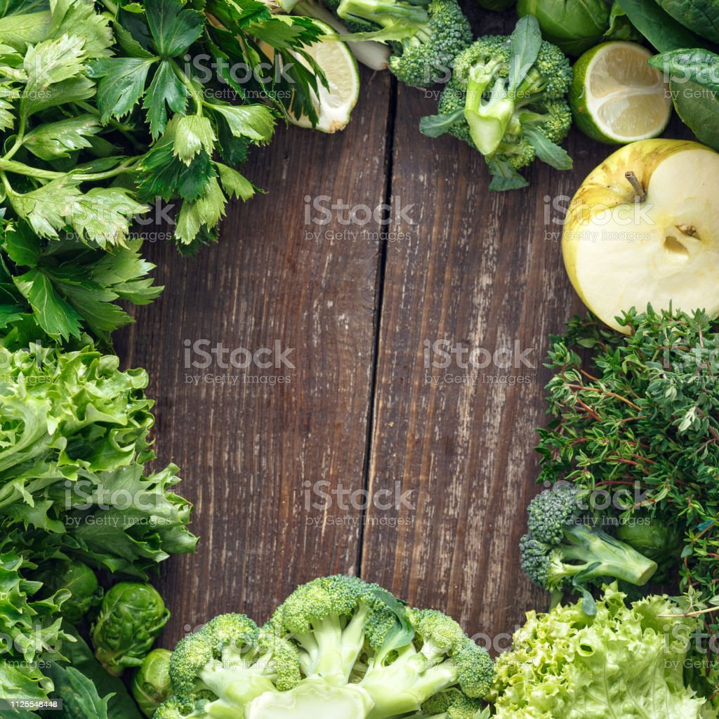 Food Background Frame Vegetables Fruit Herbs Top View Healthy stock photo