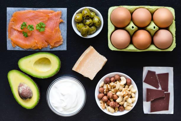 essen hintergrund hoch in gesunde fette - low carb süßigkeiten stock-fotos und bilder