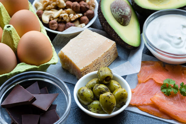 Food Background High in Healthy Fats stock photo