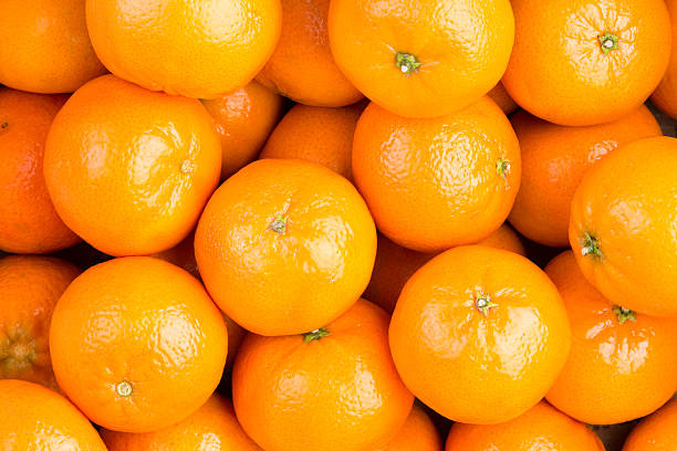 Food background of healthy ripe clementines stock photo