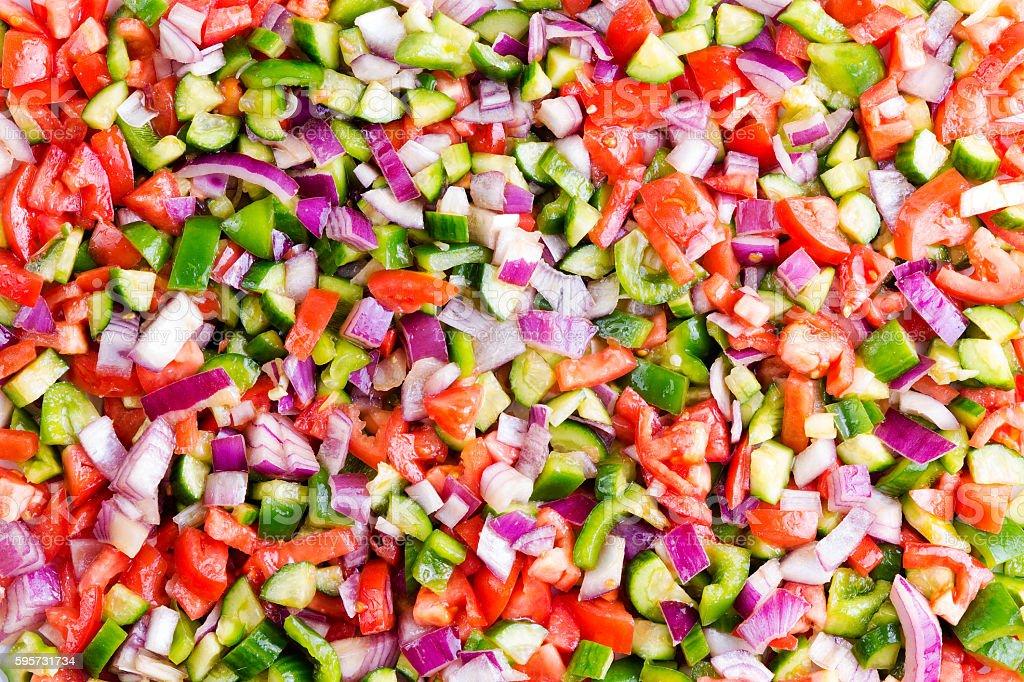 Food background of healthy Turkish shepherd salad stock photo