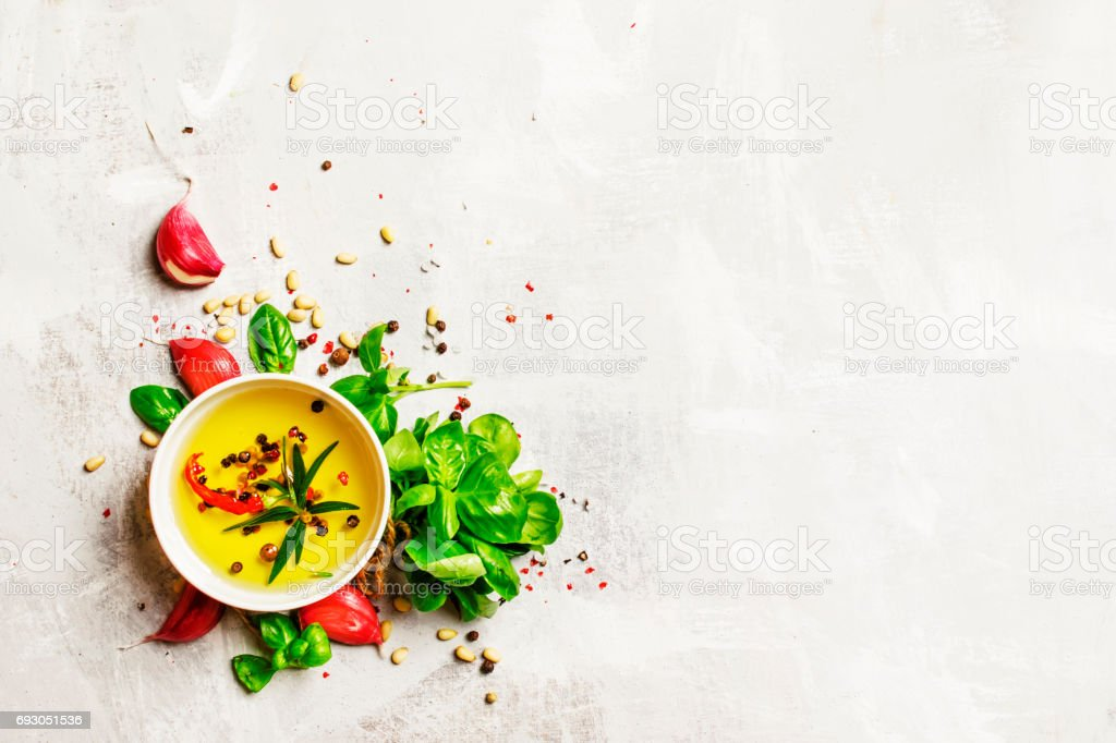 Food Background Olive Oil Cedar Nuts Spices And Herbs ...