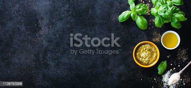 istock Food background on dark 1128752009