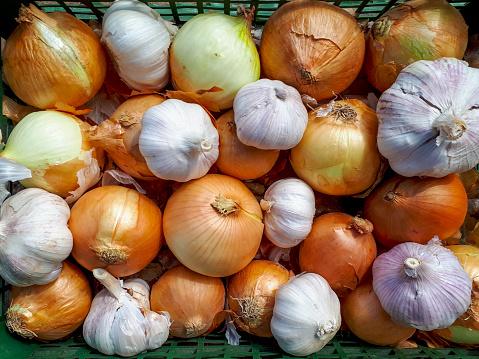 food background onion and garlic knolling garden vegetables harvest summer autumn season