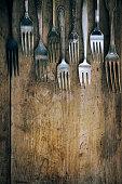 Fork an wooden board