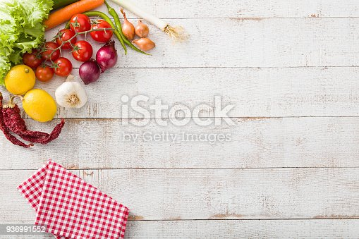 Food background high angle view.