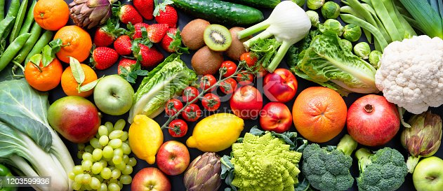 Panoramic food background with assortment of fresh organic fruits and vegetables