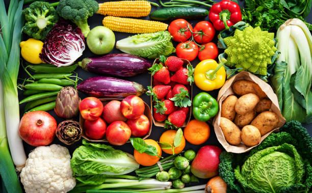 食物背景,包括各種新鮮有機水果和蔬菜 - 清新 個照片及圖片檔