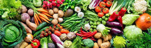 Food background with assortment of fresh organic vegetables stock photo