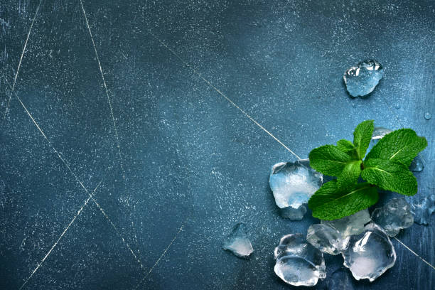 Lebensmittelhintergrund mit Eiswürfeln und Minzblättern – Foto