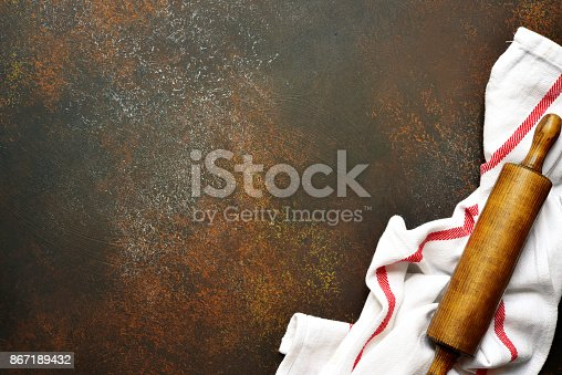 istock Food background with kitchen towel and rolling pin 867189432