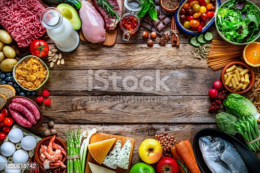 Food and drink backgrounds: top view of a wooden with a large variety of food placed side by side all around the border making a frame and leaving useful copy space for text and/or logo. The composition includes raw meat, chicken breast, minced meat, sausages, raw fish, cereals, shrimps, fruits, vegetables, dairy products, chocolate, a red wine bottle, legumes, spices, pasta, crackers, nuts, honey, among others. High resolution 42Mp studio digital capture taken with SONY A7rII and Zeiss Batis 40mm F2.0 CF lens